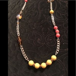 Orange and yellow beaded and jeweled gold necklace